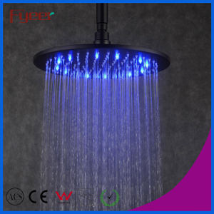 Fyeer Manufacturer Black Round Shower Head with 3 Color LED pictures & photos