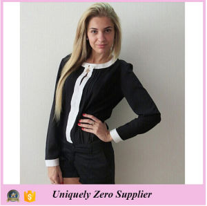 2016 New Arrival Long Sleeve Bowknot Round Neck Chiffon Blouse pictures & photos