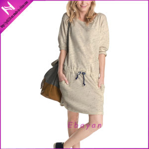 Autum New Design Women Fashion Jersey Waisted MIDI Dress