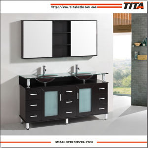 2016 Tempered Glass Solid Wood Bathroom Furniture T9142c pictures & photos