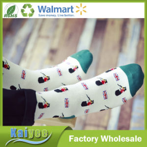 Spring and Autumn Cotton Long Jacquard Sock with Royal Band Pattern pictures & photos