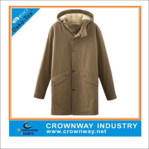 Mens Winter Khaki Buttoned&Zippered Parka Jackets with a Hood pictures & photos