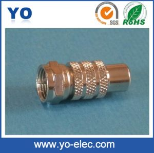 F Male Plug to RCA Female Jack Connector (YO 2-040)