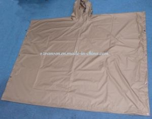 100% Polyester Khaki Waterproof Rain Poncho with PVC Coating for Wholesale pictures & photos