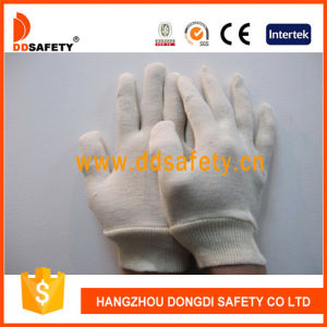 Ddsafety 2017 100% Natural Cotton Interlock Reversible Knit Wrist Nature Cotton Glove pictures & photos