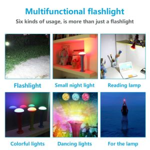 Multi-Function Color Changeable by Music Control Sos Lamp USB Rechargeable LED Flashlight pictures & photos