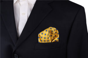 Luxury Silk Polyester Dots Plaid Flower Printed Pocket Square Hanky Handkerchief (SH-029) pictures & photos
