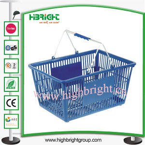 Double Handle Plastic Shopping Basket for Supermarket pictures & photos