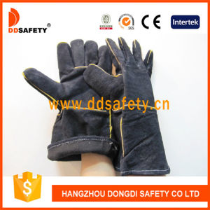 Ddsafety 2017 Black Cow Split Leather Welding Glove pictures & photos