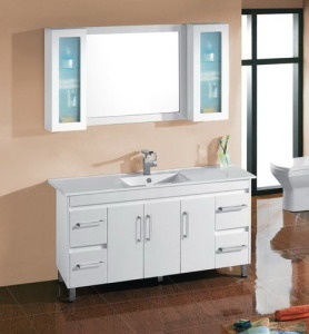 White Glossy MDF Bathroom Vanity Cabinet with Ceramic Basin (SH31-1500W) pictures & photos