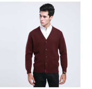 Yak Wool/Cashmere V Neck Cardigan Long Sleeve Sweater/Clothes/Garment/Knitwear pictures & photos