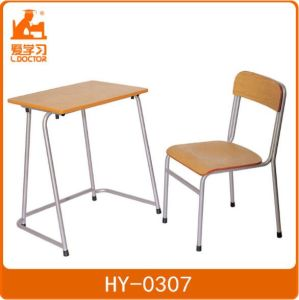 Kids Wood Metal Study Table with Attached Plastic Chair pictures & photos
