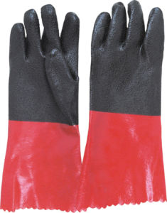 Black and Red PVC Fully Coated Glove pictures & photos