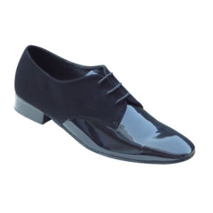 Black Patent&Nubuck Men′s Ballroom/Standard Dance Shoes pictures & photos
