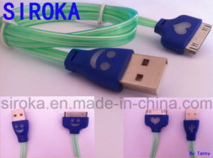 Fashion Smile Style Micro USB Cable with LED for iPhone4s pictures & photos