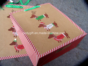 Customize Christmas Design Printing Promotional Gift Paper Bag with Grosgrain Ribbon Handle pictures & photos