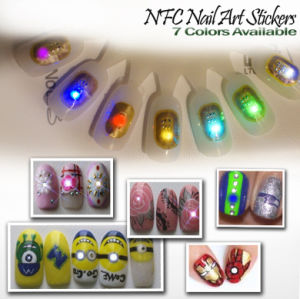 Nfc Nail Art Sticker LED Tips Light Flash Decal Accessories DIY Phone 7 Colors