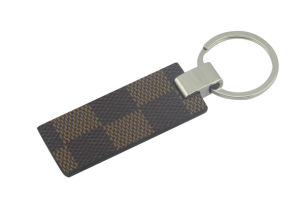 Promotional Metal PU Leather Key Chain with Keyring (F3055A)