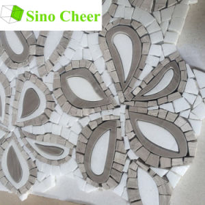 White Mixed Brown Marble Waterjet Mosaic Tiles for Wall Decoration pictures & photos
