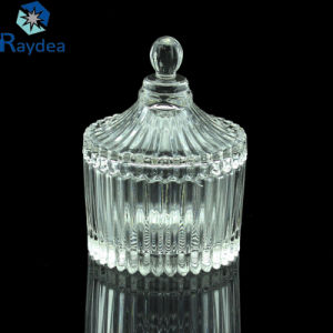 Stock Beautiful High Clear Glass Candy Jar with Glass Lid pictures & photos