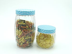 4sets Glass Jar in kitchenware with Blue Green Metal Lid pictures & photos
