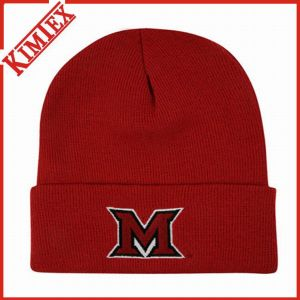100% Acrylic Knitted Embroidery Promotion Winter Cap pictures & photos