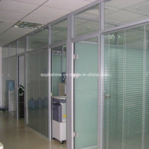 Window Blinds Tilted & Lifted by Magnetic Handle Between Insulated Glass for Office Partition pictures & photos