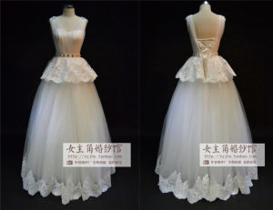 2015 Tulle Sweetheart Plus Size Wedding Dress with Lace Decoration (JL1027)