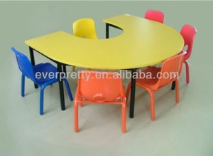 Kindergarten Furniture Kids U Shape Table with Plastic Chairs pictures & photos