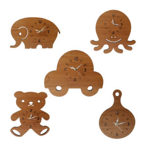 Promotion Gift Cartoon/ Animal Bamboo Wall Clock pictures & photos