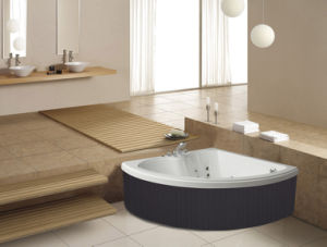 Corner Freestanding Fan Shape 2 People Use Massage Bathtub (M-2053) pictures & photos