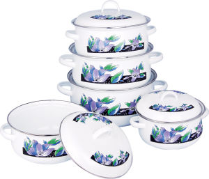 Enamel Kitchenware Set Cover 5PCS ,Enamel Casserole Cookware (673D) pictures & photos