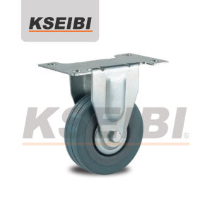 High Quality Kseibi Rigid Plate Gray Rubber Caster pictures & photos