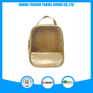 Gold PU and Mesh Material Hot Sale and Fashion Cosmetic or Tote Bag pictures & photos