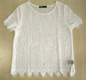 Women Fashion Clothing Knitted Short Sleeve Round Neck White T-Shirt pictures & photos