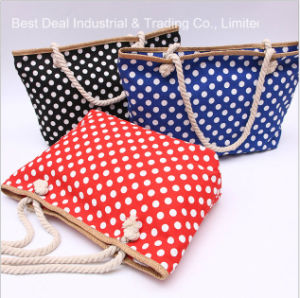 Dots Design Straw Large Buckle Ladies Bag