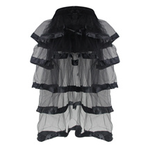 Women Black Mesh Skirt Corset Tutu Dress with Crystal Beads