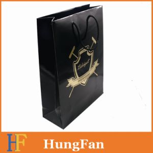 Black Color with Gold Hot Stamping Branded Logo Paper Bag pictures & photos