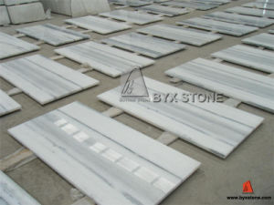 Polished White Marble Tiles with Light Grey Straight Veins pictures & photos