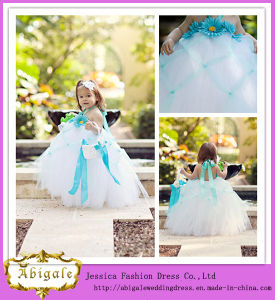 Cute Full Length Ball Gown Halter Royal Blue and White Tulle Baby Girl Wedding Dress (ED10011)