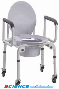 Drop-Arm Commode Chair with Wheels (iron) pictures & photos