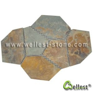 Rustic Brown Multi Color Slate Meshed Paving Stone pictures & photos
