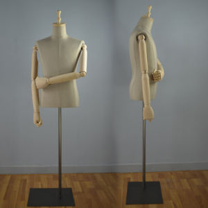 Headless Fabric Wrapped Male Torso Mannequin with Wooden Arm pictures & photos