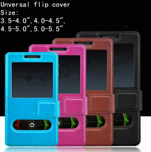 "Cheap Universal Stand Leather Mobile Phone Case/Cover with 4"" 4.5"" 5"" 5.5"" pictures & photos"