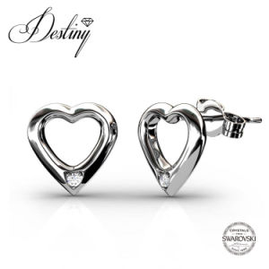 Destiny Jewellery Crystal From Swarovski 925 Sliver Heartshaped Stud Earrings
