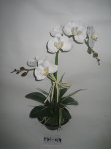 2012 New Design Hot Two Stems Artificial Orchid with Black Plat Pot (MH-014)