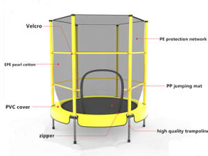 Sld55inch Yellow Trampoline with Safety Net High Quality Trampoline pictures & photos