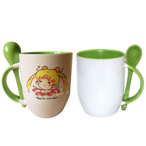 Green Ceramic Coffee Mug with Spoon pictures & photos