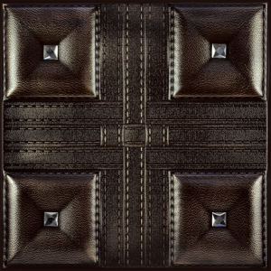 3D Carved Embossed Faux PU Cafes Decoration 3D Leather Wall Panels pictures & photos