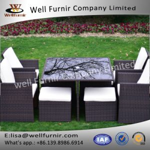 Well Furnir 8 Seaters Space-Saving Rattan Cube Dining Set pictures & photos